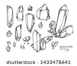 hand drawn crystal cluster.... | Shutterstock .eps vector #1433478641
