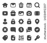 set of 25 web ui glyph vector...