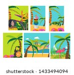 island in summer with palms ... | Shutterstock .eps vector #1433494094