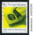 Small photo of AUSTRIA - CIRCA 1998: stamp printed by Austria, shows Lithographic Printing, Portrait of Aloys Senefelder, circa 1998