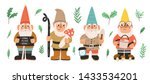 collection of garden gnomes or... | Shutterstock .eps vector #1433534201