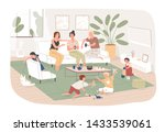group of women sit in cozy room ... | Shutterstock .eps vector #1433539061