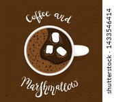 white cup of coffee or espresso ... | Shutterstock . vector #1433546414