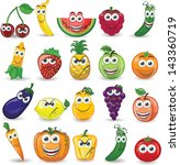 cartoon fruits and vegetables... | Shutterstock .eps vector #143360719