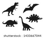 dinosaur vector silhouettes   t ... | Shutterstock .eps vector #1433667044