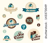 Set of vintage ice cream shop logo badges and labels