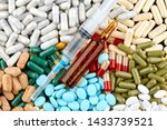 syringe  brown ampoule and many ... | Shutterstock . vector #1433739521
