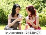 two cute girls laughing over a... | Shutterstock . vector #14338474
