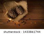 Pine Cones In A Wooden Basket...
