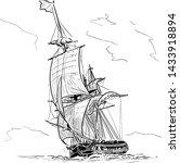 sailing ship vintage frigate on ...   Shutterstock .eps vector #1433918894