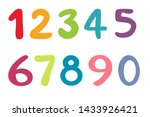 Colorful Numbers Set Vector...