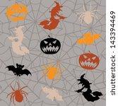 cartoon halloween seamless... | Shutterstock . vector #143394469