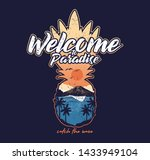 welcome to paradise beautiful... | Shutterstock .eps vector #1433949104
