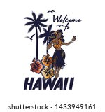 Young Cute Smile Hawaiian Hula...