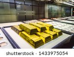 Stock photo gold bars exposed in a market in grand bazaar istanbul turkey 1433975054