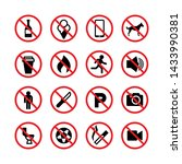 prohibited signs. forbidden... | Shutterstock . vector #1433990381