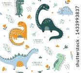 cute funny kids dinosaurs... | Shutterstock .eps vector #1433993837