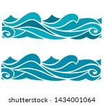 blue waves sea ocean vector...   Shutterstock .eps vector #1434001064