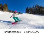 female snowboarder on the... | Shutterstock . vector #143400697
