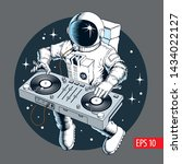 astronaut dj with turntable in... | Shutterstock .eps vector #1434022127