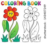 Coloring Book With Flower Them...