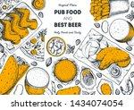 pub food and beer vector... | Shutterstock .eps vector #1434074054
