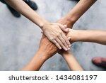 top view of business people put ...   Shutterstock . vector #1434081197