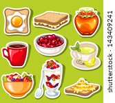 vector breakfast icon stickers | Shutterstock .eps vector #143409241
