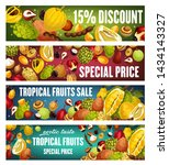 exotic fruits and berries...   Shutterstock .eps vector #1434143327
