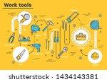 work tools of house repair ... | Shutterstock .eps vector #1434143381