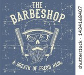 skull vintage barber shop logo... | Shutterstock .eps vector #1434168407