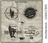 vector retro surf label set. | Shutterstock .eps vector #143417305