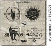 vector retro surf label set.   Shutterstock .eps vector #143417305