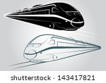 Train outline and silhouette vector - stock vector