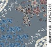 batik mega mendung with floral...   Shutterstock .eps vector #1434179294