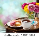 Cup Of Coffee With Macaroons O...