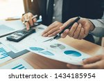manager calculates about the... | Shutterstock . vector #1434185954