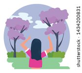 woman avatar in the park design | Shutterstock .eps vector #1434200831