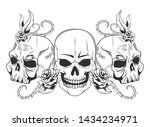 three skull with roses drawn in ... | Shutterstock .eps vector #1434234971