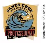 Abstract California surfer sign, vector illustration