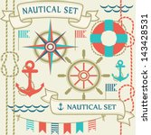 collection of nautical symbols. ... | Shutterstock .eps vector #143428531