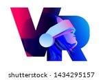 vr letter logo design. woman... | Shutterstock .eps vector #1434295157