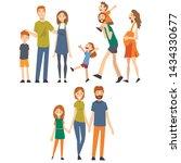 happy family with children set  ... | Shutterstock .eps vector #1434330677