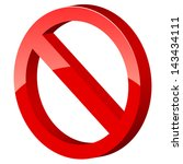 3d forbidden sign on a white... | Shutterstock . vector #143434111