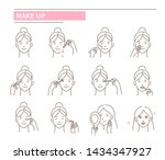 steps how to apply facial make... | Shutterstock .eps vector #1434347927