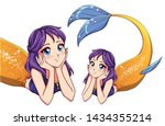 Stock vector pretty anime lying mermaid purple hair and shiny golden fish tail cute big blue eyes hand drawn 1434355214
