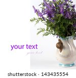 blue flower on a white... | Shutterstock . vector #143435554