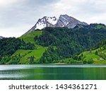 Turner and Diethelm Mountains above the valley Wagital or Waegital and alpine Lake Wagitalersee (Waegitalersee), Innerthal - Canton of Schwyz, Switzerland