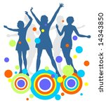 dark female dancing silhouettes ... | Shutterstock . vector #14343850