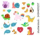 cute children's drawings animal ... | Shutterstock .eps vector #1434405257